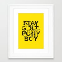 stay gold Framed Art Prints featuring Stay Gold by Lucas Young