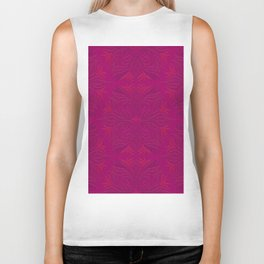 Magenta & Pink Flaming Flower Biker Tank