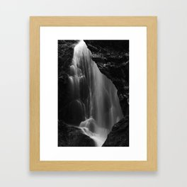 Black and white waterfall long exposure Framed Art Print