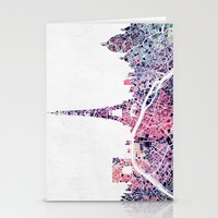 paris map Stationery Cards featuring Paris Skyline + Map #1 by Map Map Maps