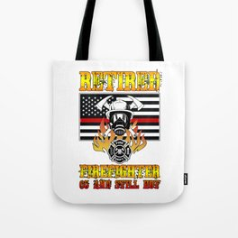 Retired Firefighter 65th Birthday Thin Red Line Flag Tote Bag
