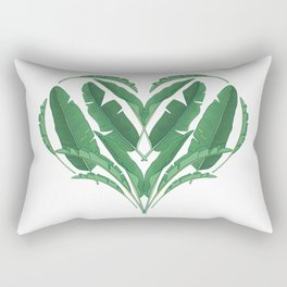 Tropical Banana Leaves Heart Rectangular Pillow