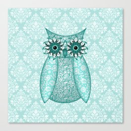 Turquoise Owl Collage Canvas Print