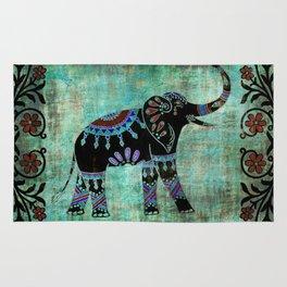 Decorated Elephant Rustic Floral Design Rug