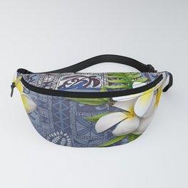 Blue Hawaiian Tapa and Plumeria Fanny Pack