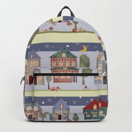 Kids patchwork seamless pattern with houses and trees Backpack