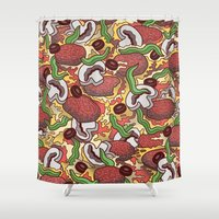 pizza Shower Curtains featuring Pizza by Raewyn Haughton
