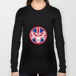 British Physical Fitness Union Jack Flag Icon Long Sleeve T-shirt