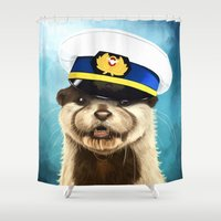 otter Shower Curtains featuring Captain Otter by tillieke