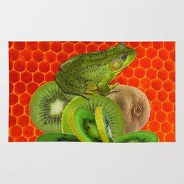 GREEN FROG & KIWI FRUIT PATTERNED RED ART Rug