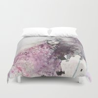 fashion illustration Duvet Covers featuring FASHION ILLUSTRATION 15 by Justyna Kucharska
