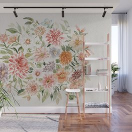 Loose Pastel Dahlia Watercolor Bouquet Wall Mural