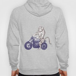 Tiger on a Motorcycle Hoody