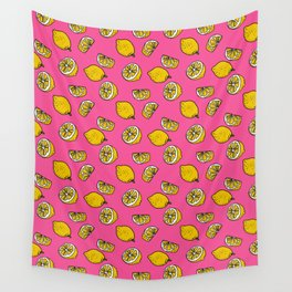 Retro Lemon Pop Wall Tapestry