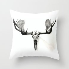 Winter Moose Is Coming Throw Pillow