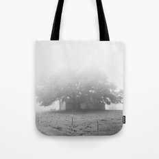 tree in fog Tote Bag