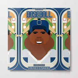 Baseball Blue Pinstripes - Rhubarb Pitchbatter - Hayes version Metal Print
