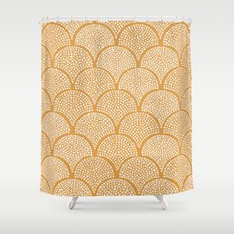 Japanese Fish Scales / Golden Texture Shower Curtain
