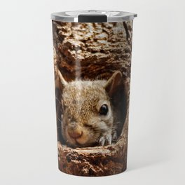 An Eastern Grey Squirrel Peeks out of a Hole - Photography Travel Mug