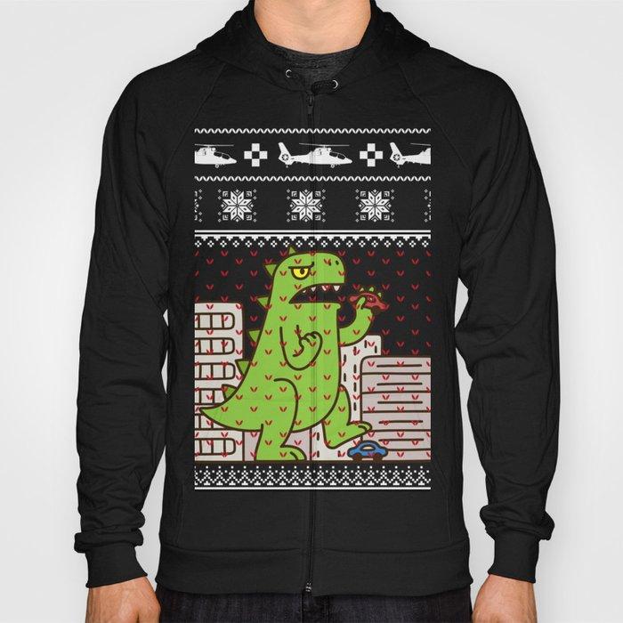 Christmas Hoodies.Godzilla Ugly Christmas Hoody By Mrsmitful