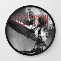 led zeppelin Wall Clocks featuring Zeppelin by Blaž Rojs