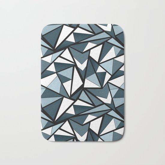 Geometric pattern in grey and white tones . Bath Mat