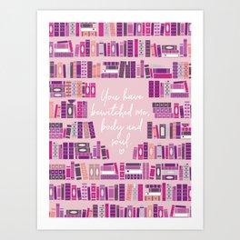 Mr Darcy Quote Bookcase Art Print