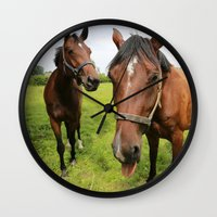 horses Wall Clocks featuring horses by Falko Follert Art-FF77