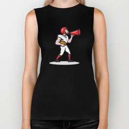 American Football Quarterback Bullhorn Isolated Cartoon Biker Tank