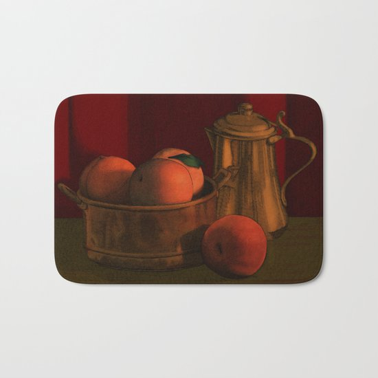 Still life with peaches Bath Mat