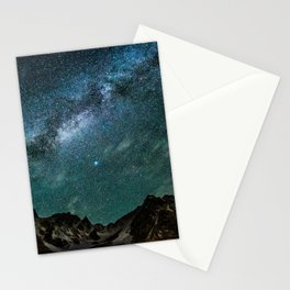 Milky Way over mountain range Stationery Cards