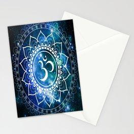 Om Mandala : Blue Green Galaxy Stationery Cards