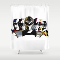 power rangers Shower Curtains featuring Power Rangers by SquidInkDesigns