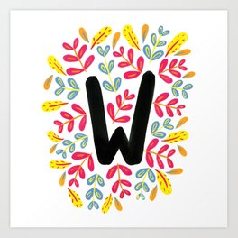 Letter 'W' Initial/Monogram With Bright Leafy Border Art Print