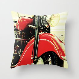 Motorcycle-Red Throw Pillow