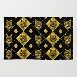 Gold and Black Tribal Wolf Pattern Rug