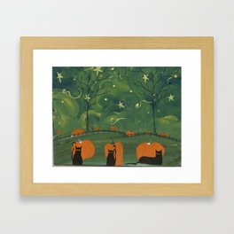 Starry Night Cats Framed Art Print