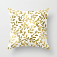 Gold Leaves on White Throw Pillow