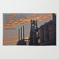 allyson johnson Area & Throw Rugs featuring All architecture is shelter....... Philip Johnson Quote by Kelly Stiles