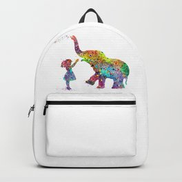 Girl And Elephant Colorful Watercolor Gift Wildlife Art Backpack