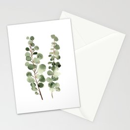 Eucalyptus (watercolor finger painting) Stationery Cards