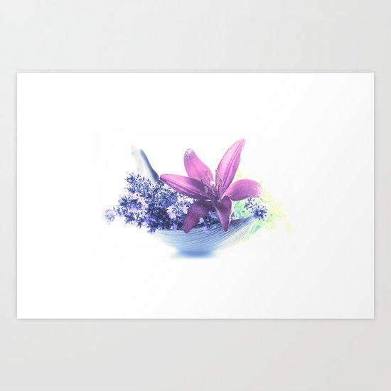 Summer flower pattern lilies and lavender Art Print