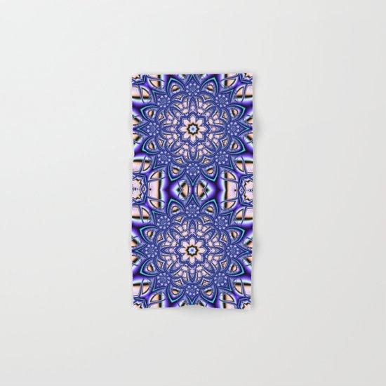 Kaleidoscope flower in purple, pink, blue and salmon. Hand & Bath Towel