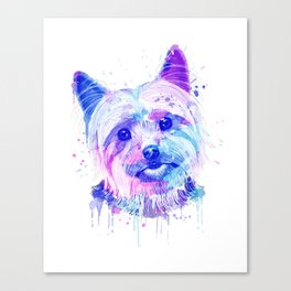 Yorkshire terrier Watercolor, Yorkshire terrier Painting, Yorkshire terrier Portrait, Yorkshire art Canvas Print