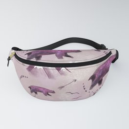 Bears and mountains pattern pink Fanny Pack