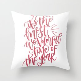 It's the Most Wonderful Time-Christmas Watercolor Lettering Throw Pillow