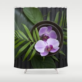 Zen Style Pink Orchids And Palm Leaf Shower Curtain