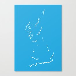 Great Britain Silhouette Map Art in Bright Blue with White Canvas Print