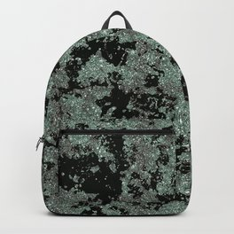 Silver Frost, Green and Black Ice Abstract Pattern Backpack