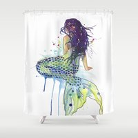 mermaid Shower Curtains featuring Mermaid by Sam Nagel